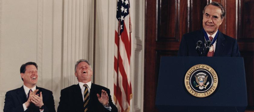 Dole receiving Presidential Medal of Freedom with Clinton & Gore